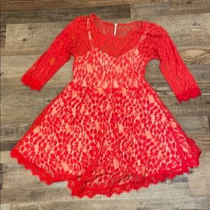 Red lace dress by Free People